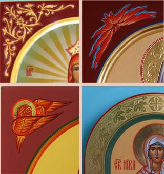 Оформление арочного ковчега и поля иконы с изображением Херувимов темперной краской и узорами на золоте на мерных иконах
