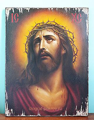 Икона Спаса после состаривания . Старение икон