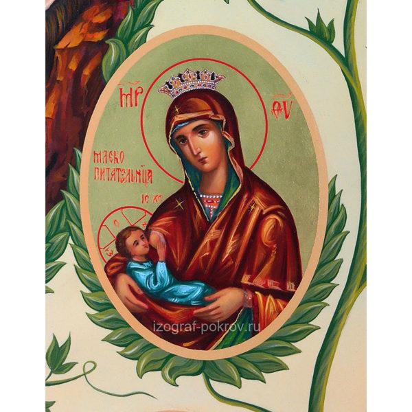 Икона Богородицы Млекопитательница (фрагмент с иконы Горний Иерусалим) чем помогает значение