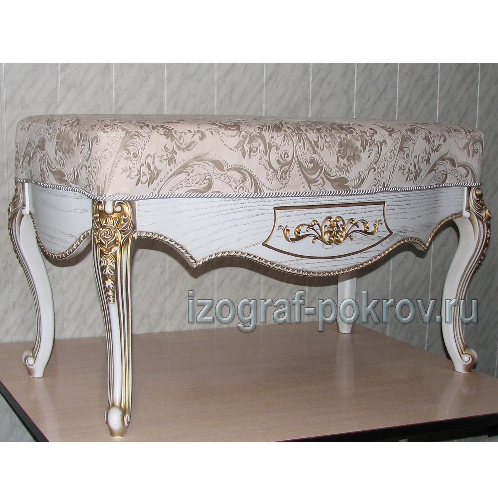 Банкетка для спальни белая вид сбоку под заказ