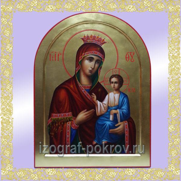 Икона Богородица Иверская арочная на золоте