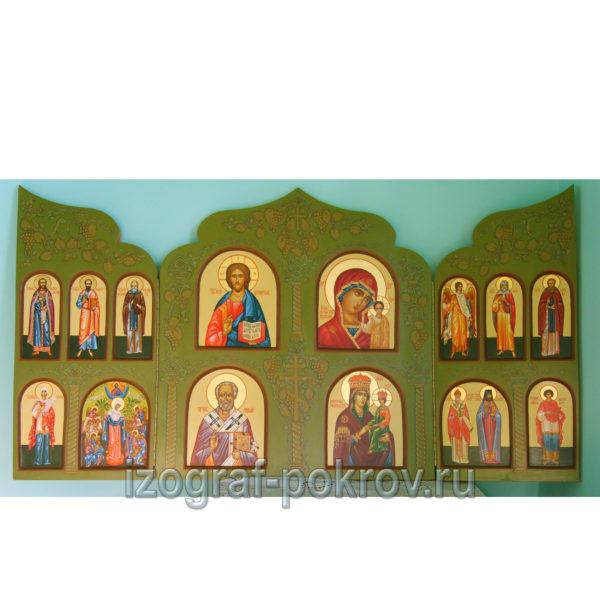 Расписной домашний иконостас складень триптих 18 святых