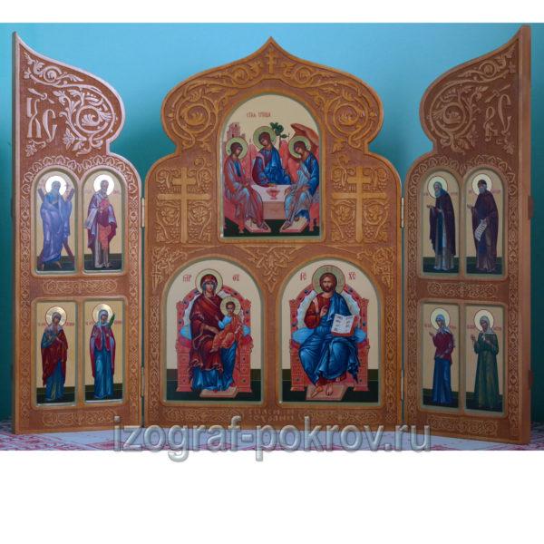 Домашний резной иконостас складень триптих 11 икон с чтимыми святыми