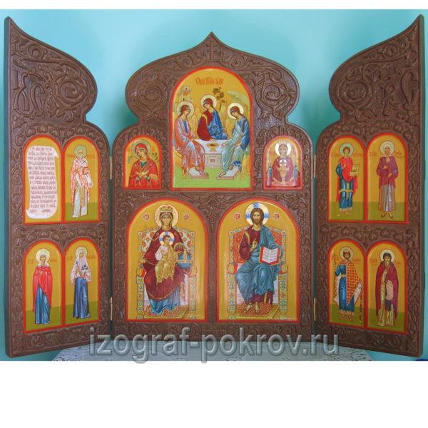 Домашний резной иконостас складень триптих 13 икон