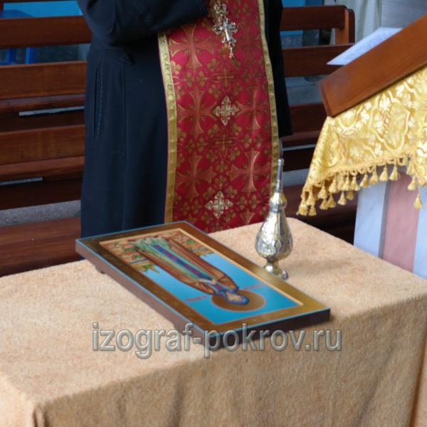 После завершения работы над иконой Анны Новгородской икона освящается в храме Покрова Пресвятой Богородицы