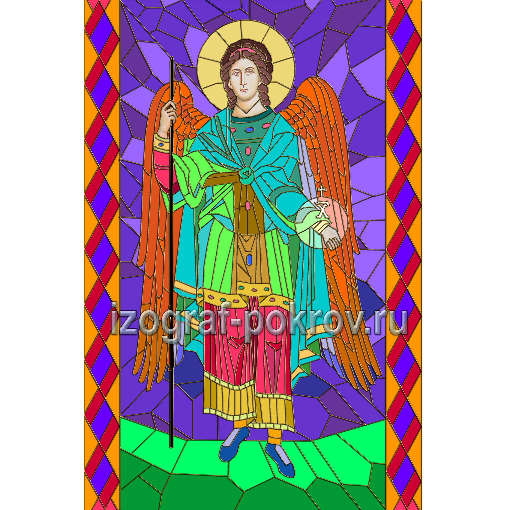 Архангел Гавриил макет витража на окна для храма