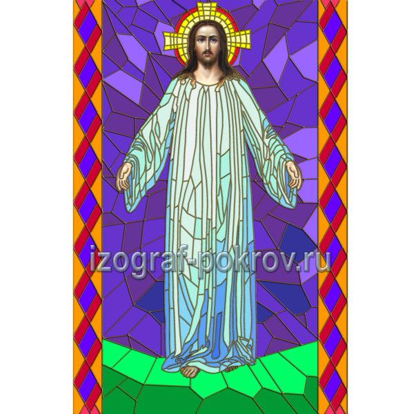 Иисус в белом хитоне макет витража на окна храма