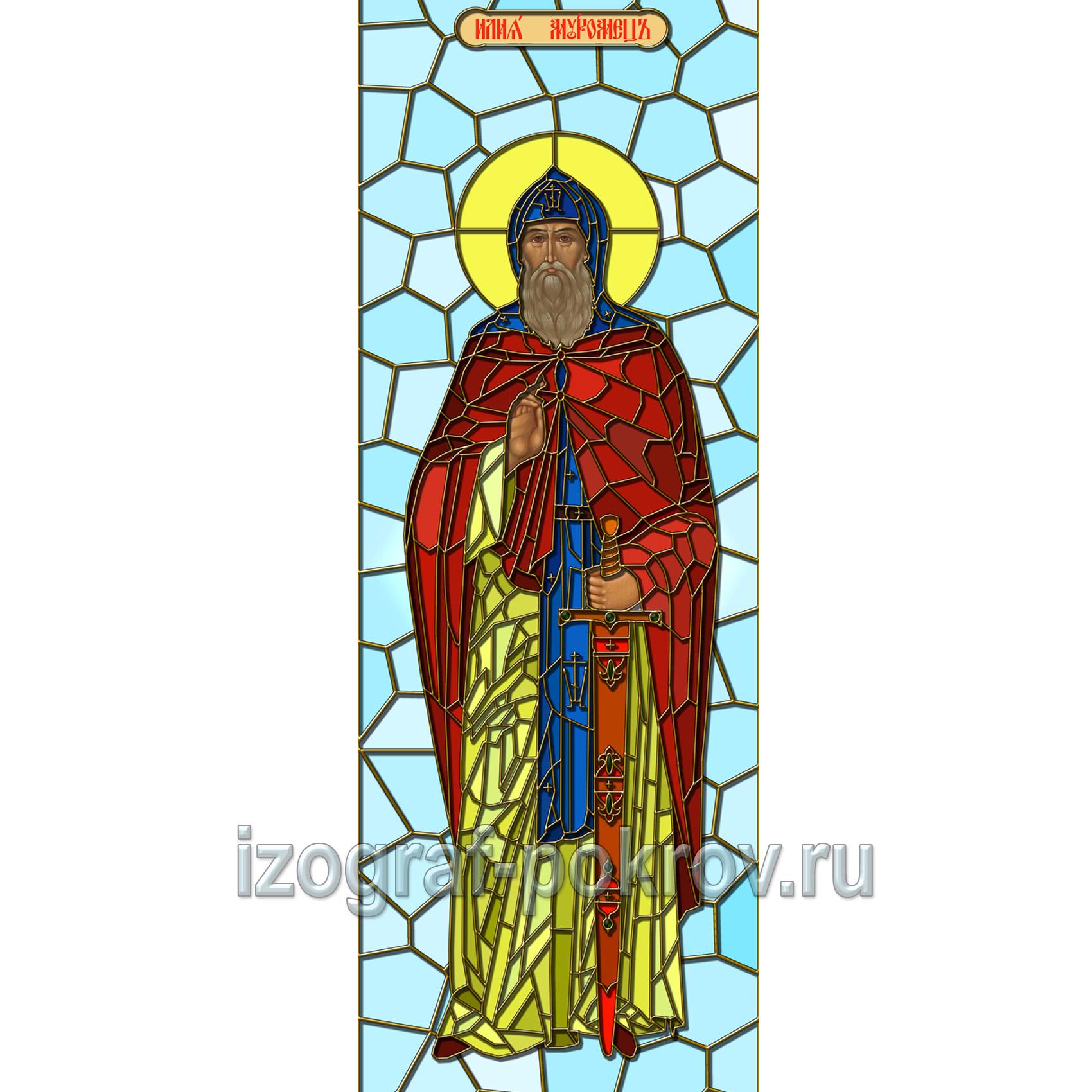 Макет витража для окна храма Илия Муромец