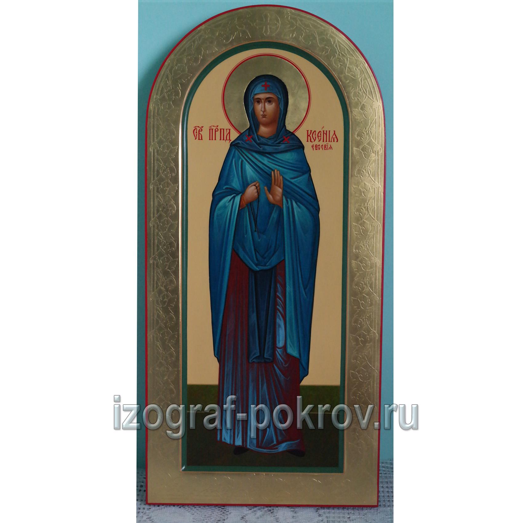 Мерная икона Ксения Евсевия с золотыми узорами по рамке