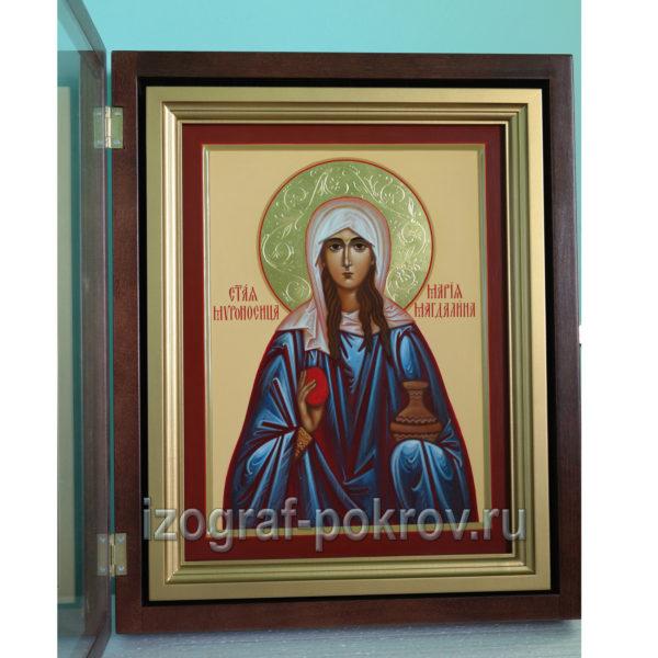 Икона Мария Магдалина с узорчатым золотым нимбом