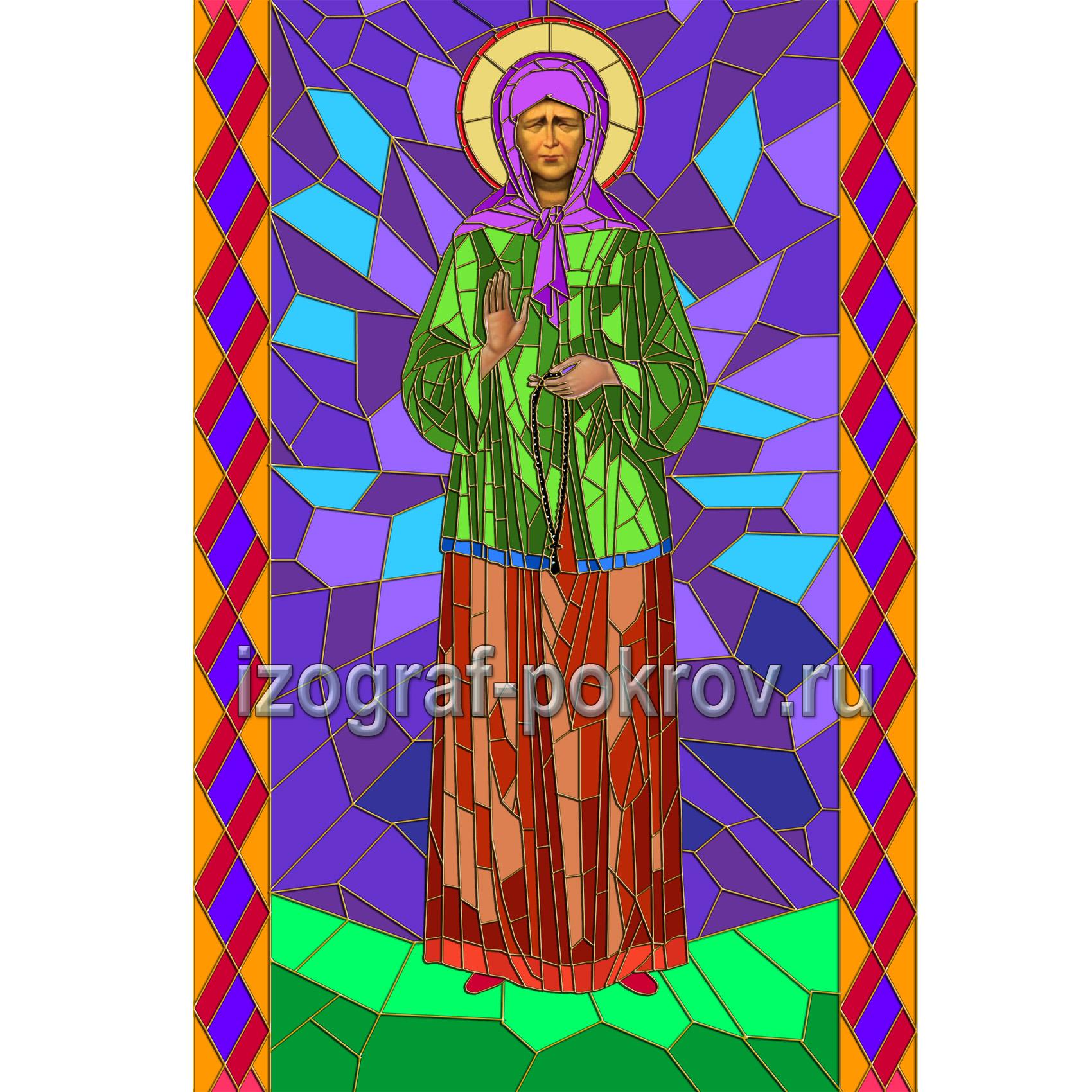 Матрона Московская макет витража на окна для храма