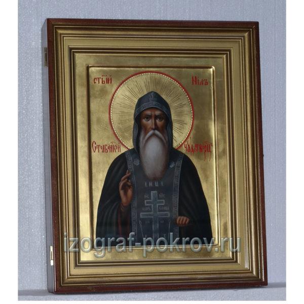 Икона Нил Столбенский в киоте на золоте