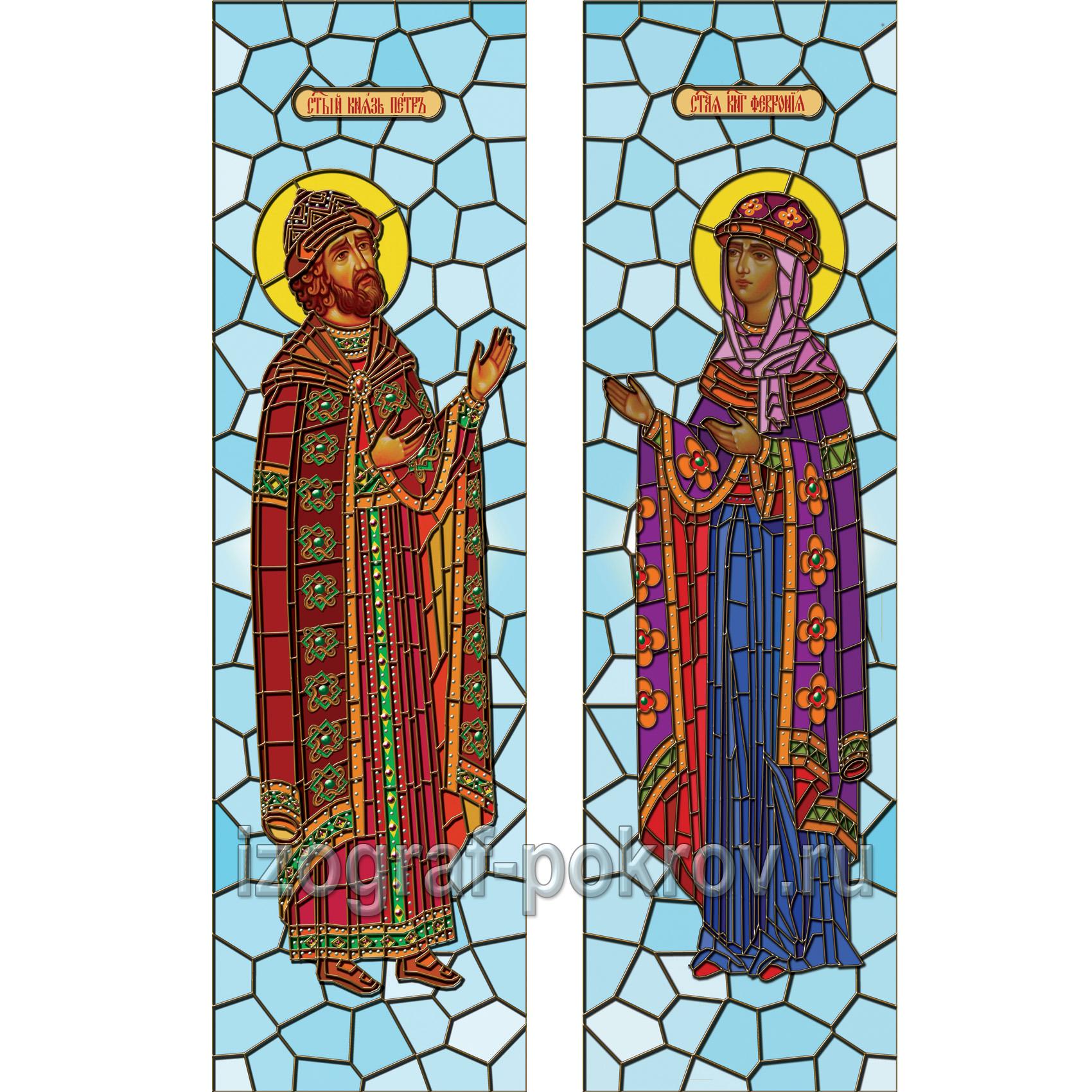 Петр и Феврония Муромкие - макет витража на окна для храма