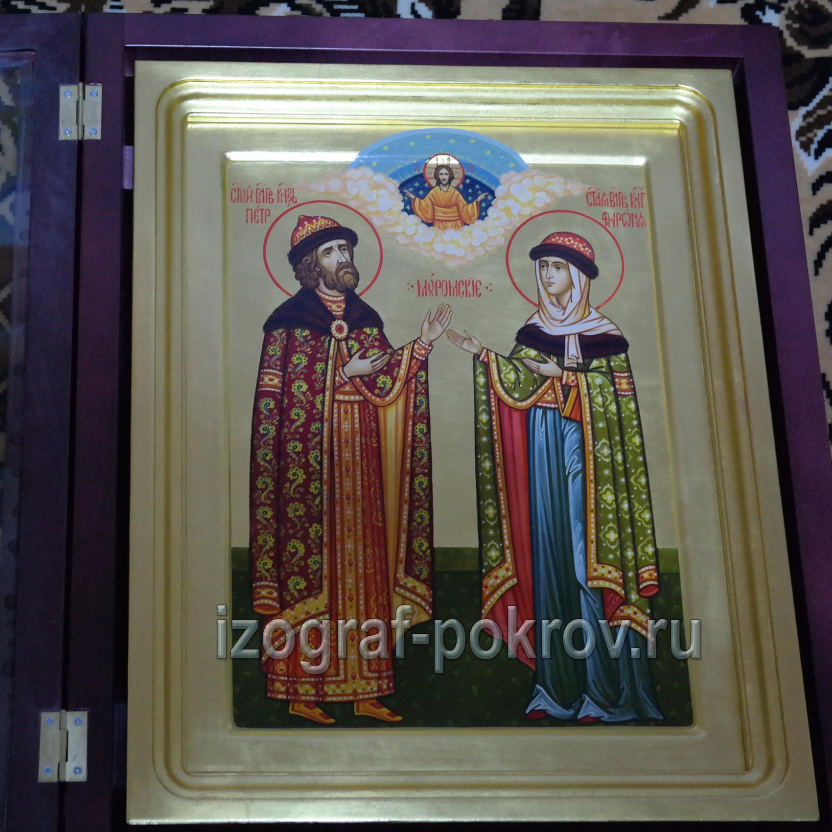 Икона Петр и Феврония Муромские на золоте