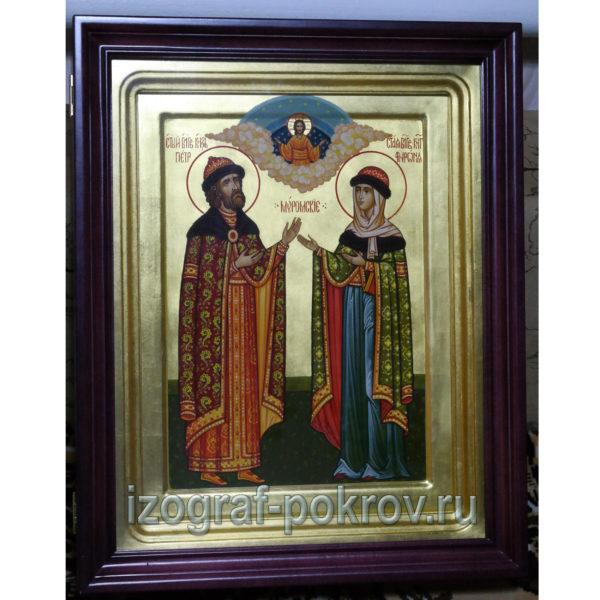 Икона Петр и Феврония Муромские на золоте в киоте