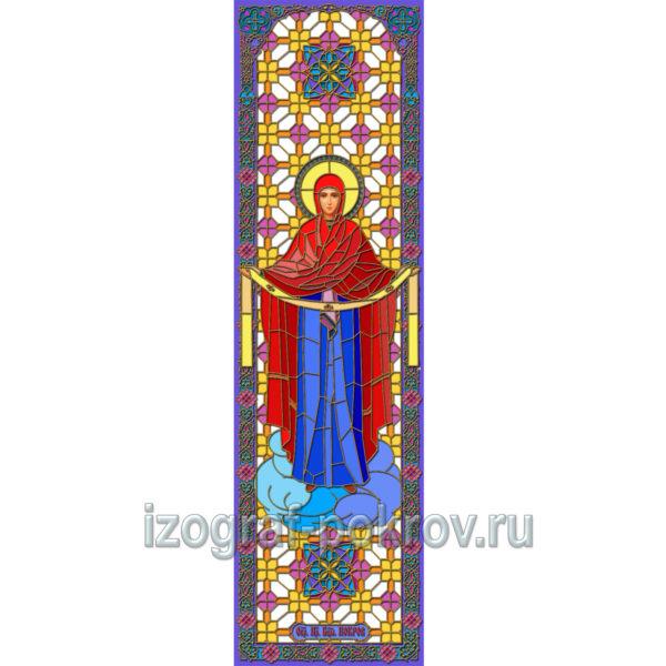 Покров Пресвятой Богородицы - макет витража на окна для храма