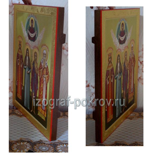 Семейная икона 4 святых покровителя вид сбоку