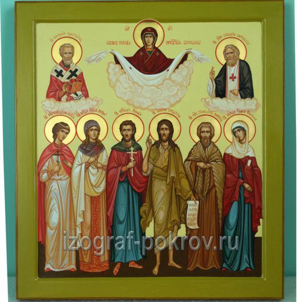 Семейная икона 6 святых покровителей семьи и Покров Пресвятой Богородицы