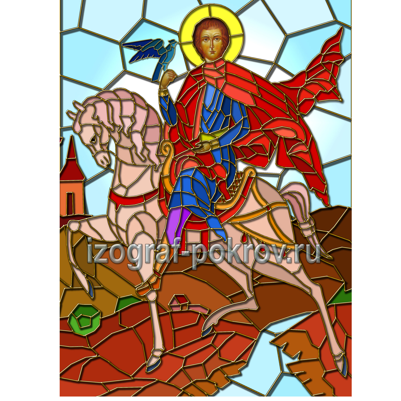 Мученик Трифон с соколом на коне макет витража на окна для храма