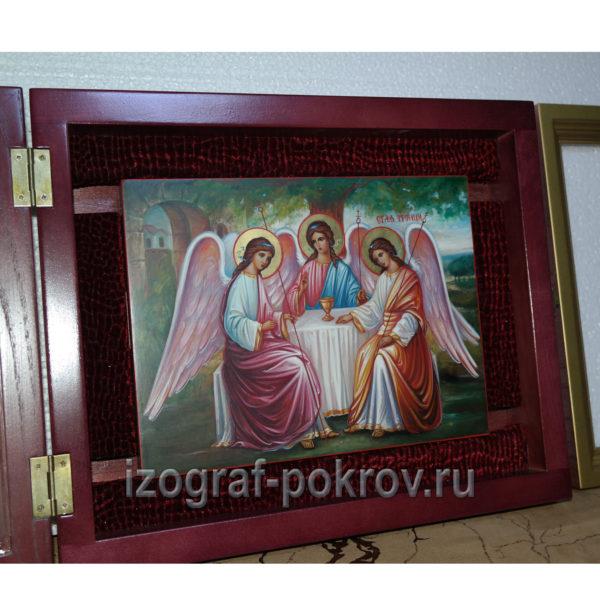 Икона рукописная Троица в академическом стиле письма