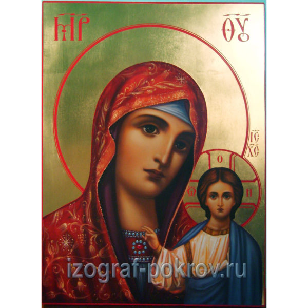 Икона Богородица Казанская на золоте