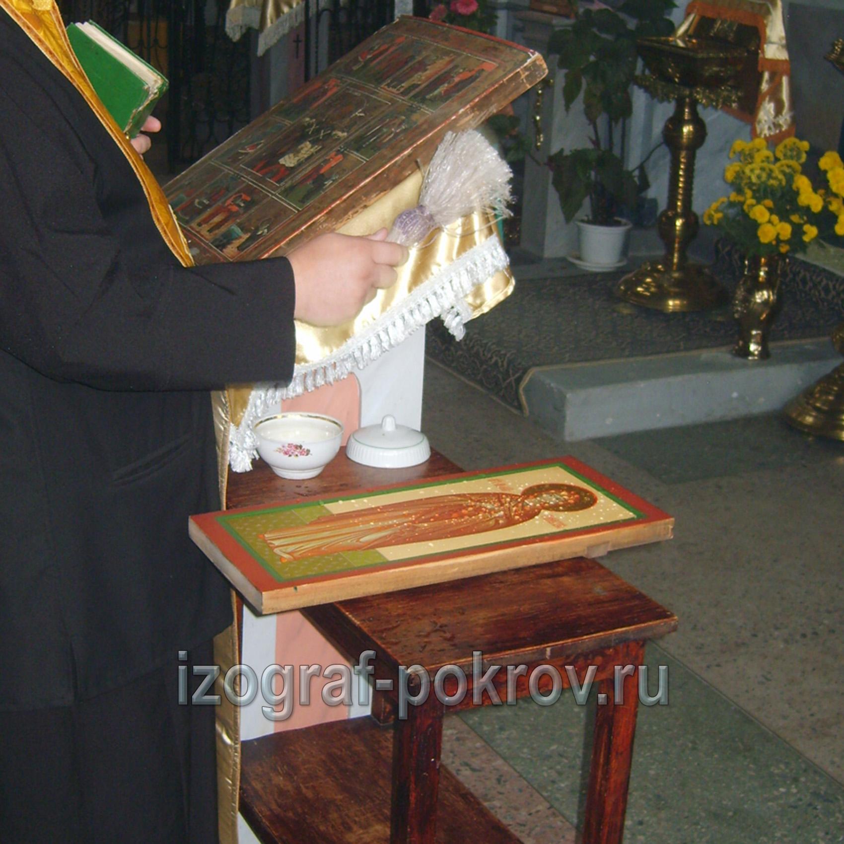 готовую икону св. Мелании Римляныни освятили в храме Покрова Пресвятой Богородицы