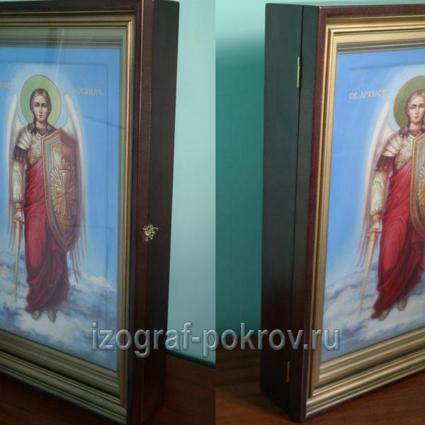 Икона Архангел (архистратиг) Михаил мерная академический стиль в киоте вид сбоку