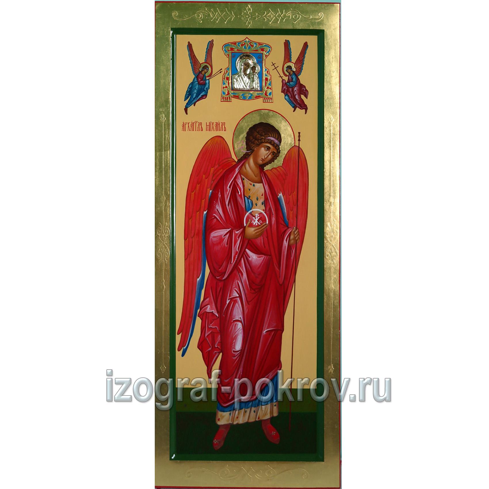 Икона Архангел Михаил архистратиг с Казанской Богородицей и ангелами