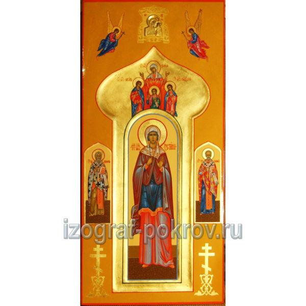 Икона Иустина Антиохийская, Киприан и Николай Чудотворец