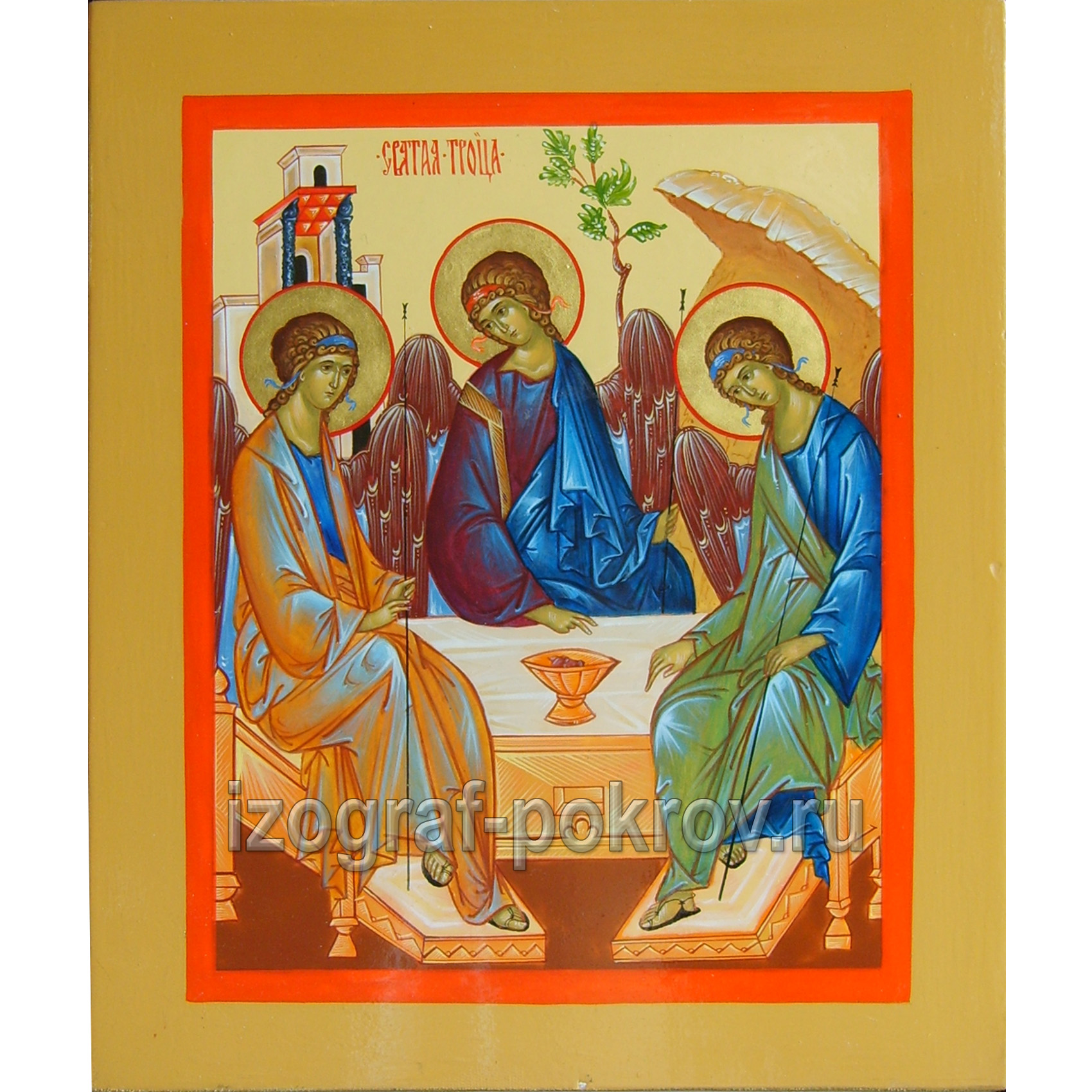 Икона Святая Троица канонический вариант по Рублеву