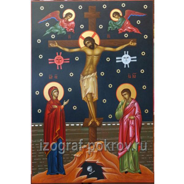 Рукописная икона Распятие Иисуса Христа под заказ в иконописной мастерской Покров при храме Покрова Пресвятой Богородицы