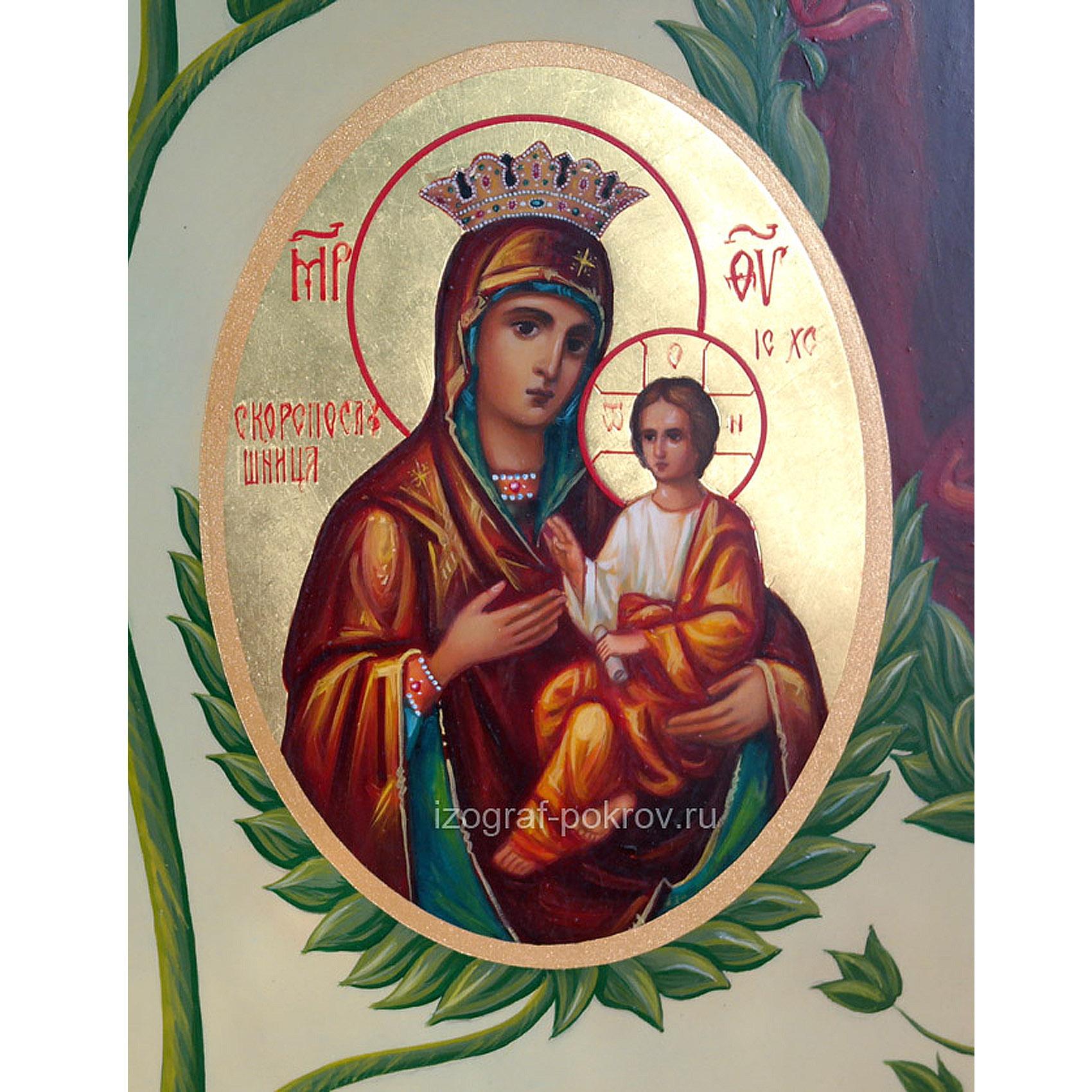 Икона Богородицы Скоропослушница (фрагмент с иконы Древо Пресвятой Богородицы) чем помогает значение