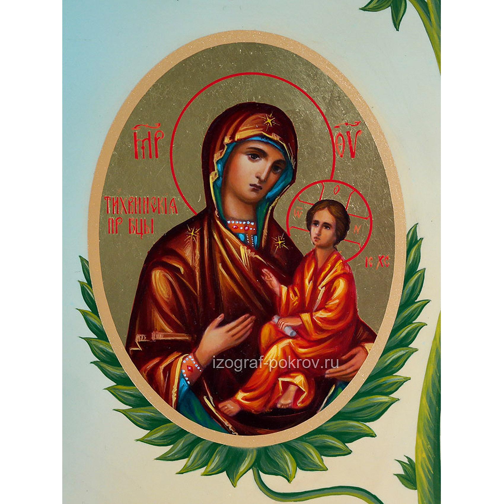 Икона Богородица Тихвинская (фрагмент с иконы Горний Иерусалим) чем помогает значение