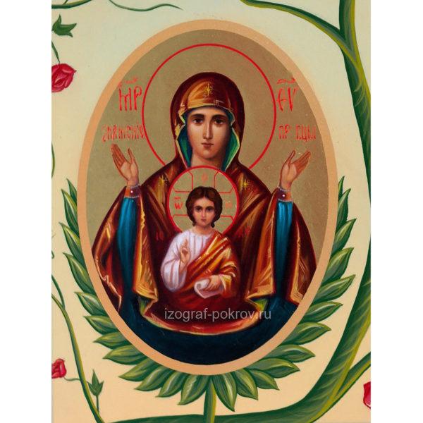 Икона Богородицы Знамение фрагмент с иконы Горний Иерусалим чем помогает значение