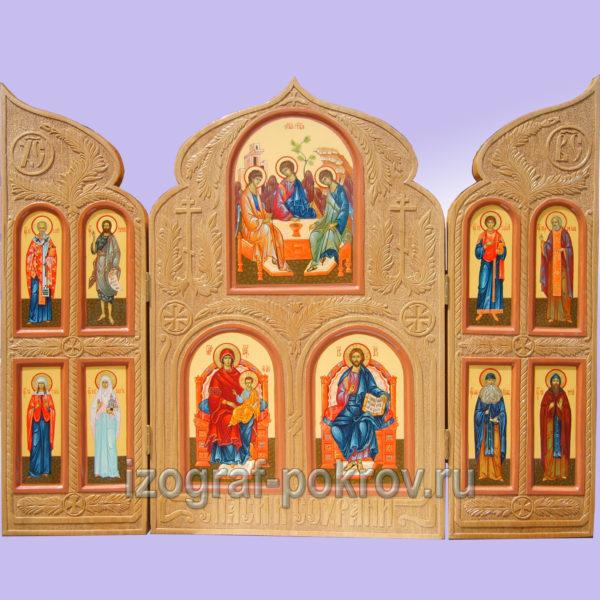 Домашний резной иконостас складень триптих 11 икон со святыми покровителями первый