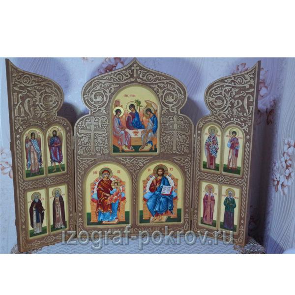 Домашний резной иконостас складень триптих 11 икон со святыми покровителями семьи