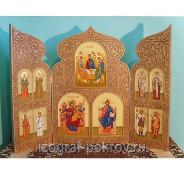 Домашний резной иконостас складень триптих 11 икон светлый