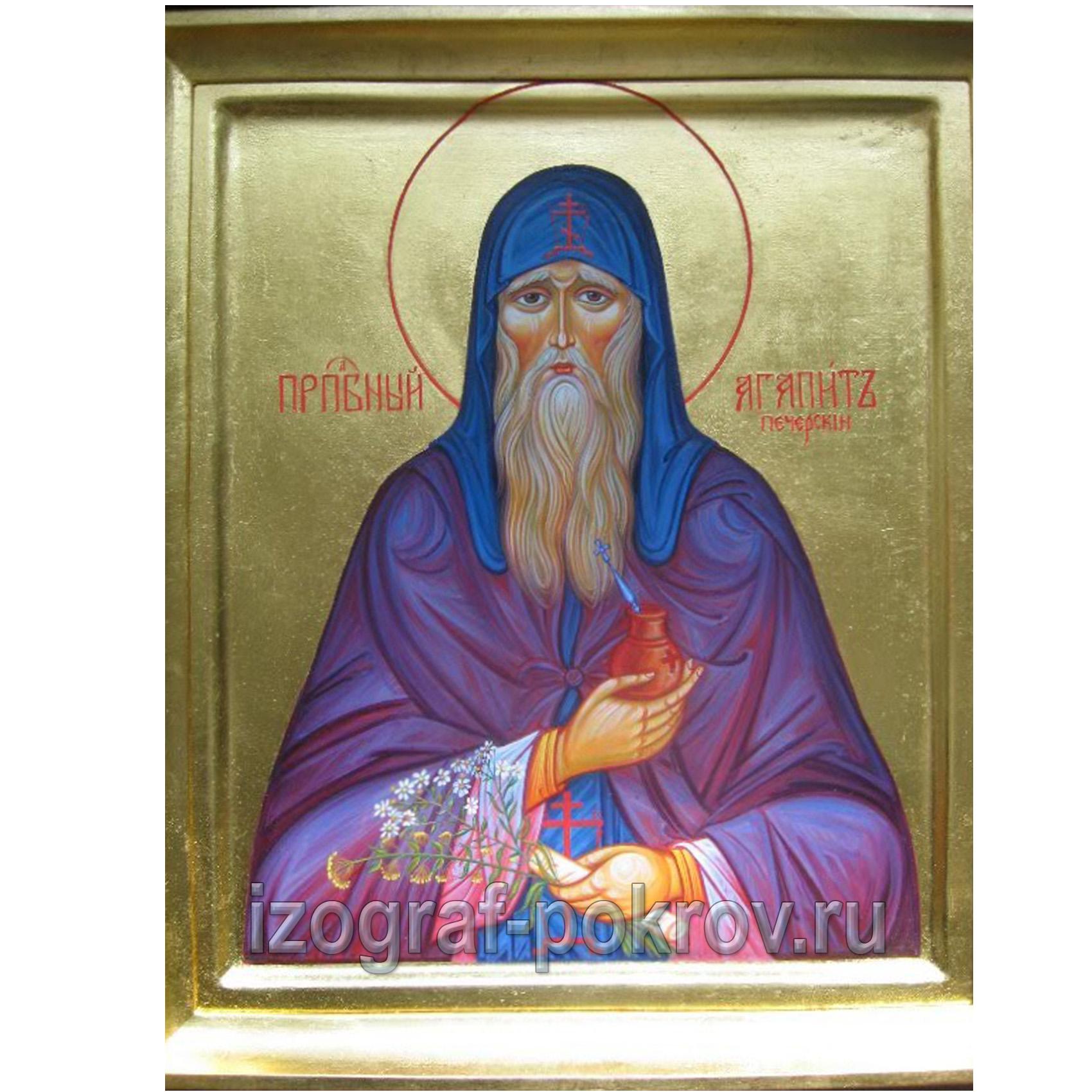 Икона для храма Агапит Печерский преподобный на золоте