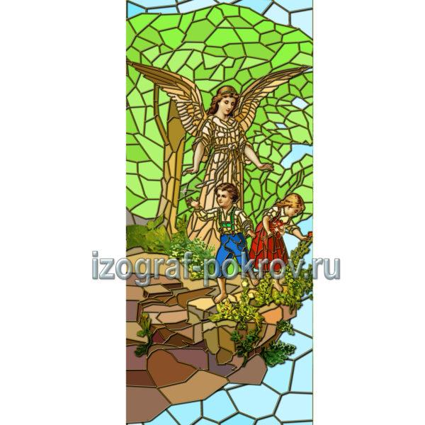 Ангел-Хранитель с детьми макет витража на окна для храма