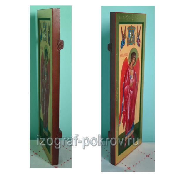 Мерная икона Архангела Михаила с миниатюрой Богородицы вид сбоку