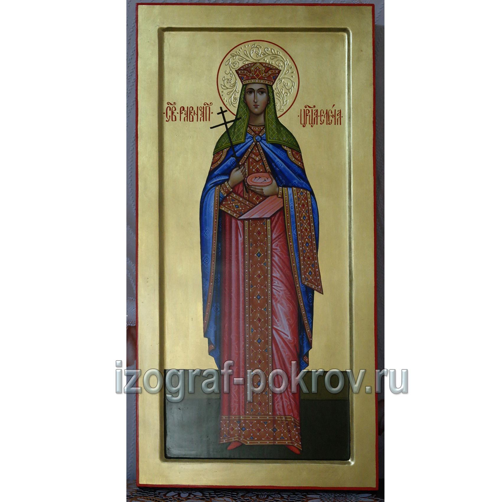 Мерная икона царица Елена Равноапостольная на золоте