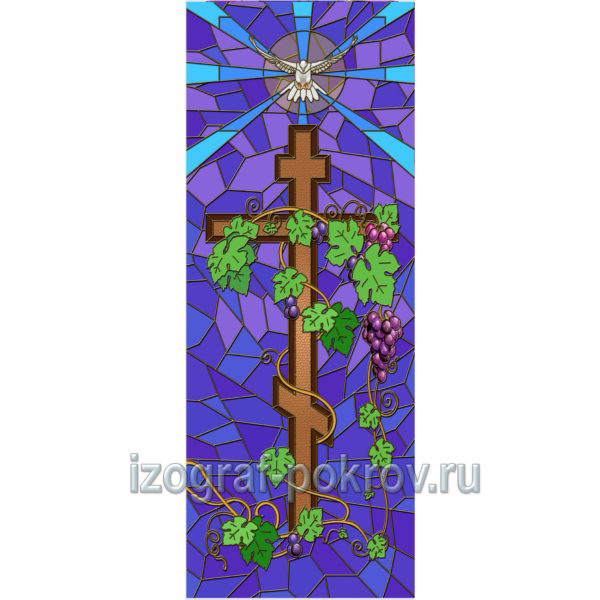Крест с гроздьями винограда - макет витража на окна для храма