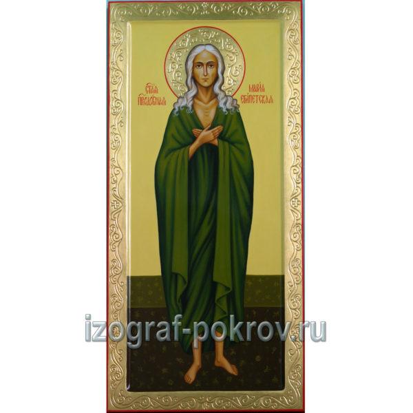 Мерная икона Мария Египетская с оформлением рамки и нимба