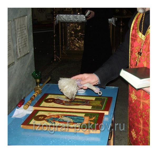 освящение иконы Платона Анкирского в храме