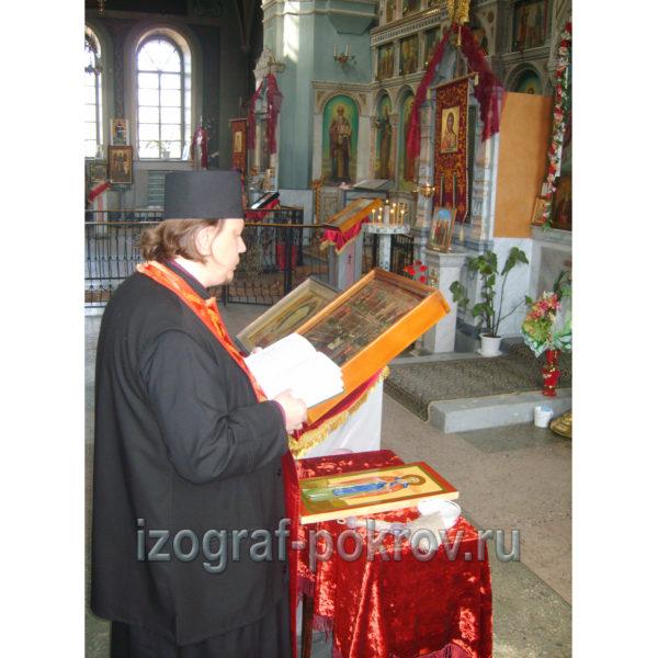 Готовая икона св. Арсения Великого освящалась в храме Покрова Пресвятой Богородицы