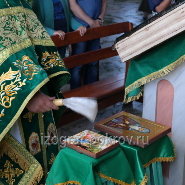 Освящение иконы Сергия Валаамского в иконописной мастерской при храме Покрова Пресвятой Богородицы