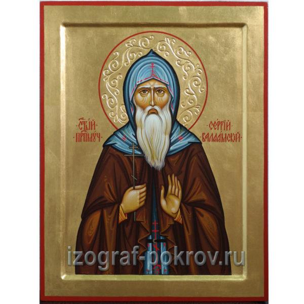 Рукописная икона преподобный Сергий Валаамский
