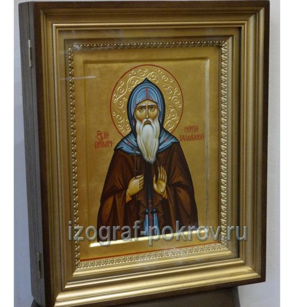 Икона в киоте Сергий Валаамский