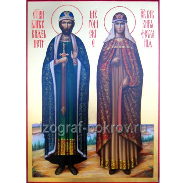 Икона Петр и Феврония Муромские на золоте. Красивые иконы. Заказать икону в иконописной мастерской при храме.