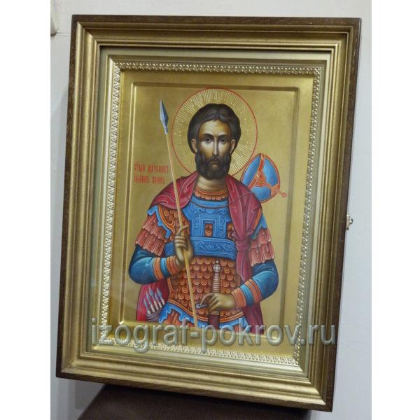 Икона на золоте Иоанна Воина в киоте, написанная под заказ в иконописной мастерской Покров при храме ПОкрова Пресвятой Богородицы.